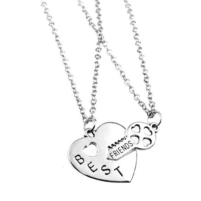 45f1802fb2 1 Pair Best Friend Heart & Key Pendant Chain Necklace Set Alloy Fine Jewelry  Birthday Christmas Gifts M555 KQS