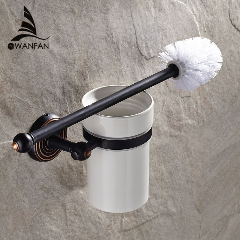 European Style Black Toilet Brush Holder Solid Brass WC Toilet Brush Bathroom Products Bathroom Accessories Useful HJ-1209 european style brass toilet brush holder wall mounted antique toilet brush bathroom products accessories durable