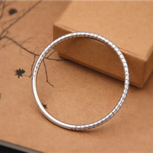 Buddhism Heart Sutra Bangle For Women Men Real 999 Pure Silver Jewelry Vintage Bangles Amulet Blessing Best Gift