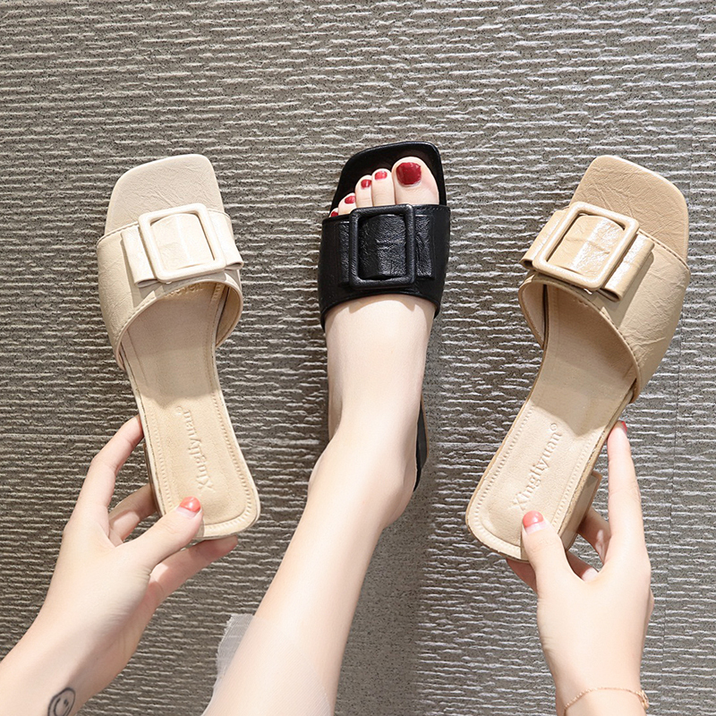 Cremulen 2019 Summer Slippers Women Sandals Med Square heel Shoes Metallic Slippers Fashion Slides Woman Shoes in Slippers from Shoes