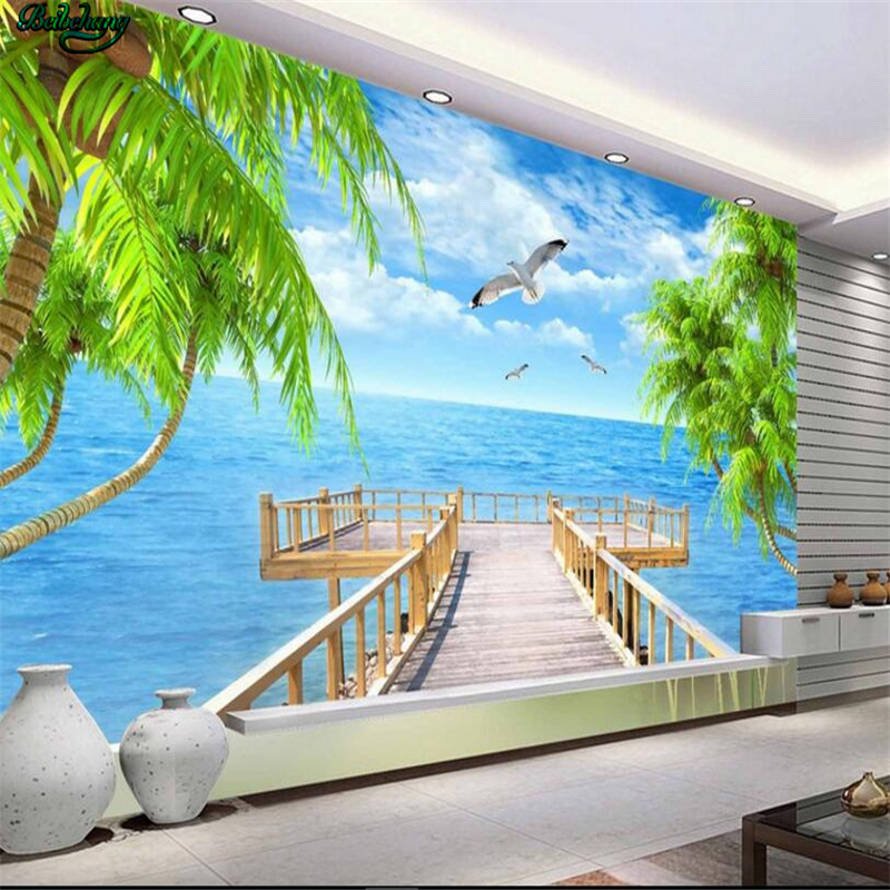 beibehang Large custom wallpaper Mediterranean landscape 3D TV background living room bedroom wall home decoration