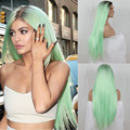 Fashion Ombre Mint Green Long Straight Synthetic Lace Front Wig Glueless Dark Roots/Green Heat Resistant Hair Wigs
