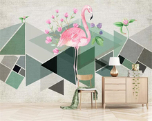beibehang 3d wallpaper geometric triangle color block flamingo tropical plant flower tv background wall tapety