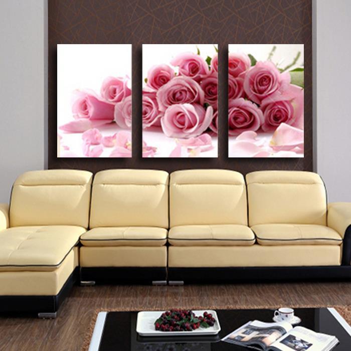 ᗗ3 Panneau Moderne Imprimé Rose Fleur Peinture Toile Cuadros Fleurs