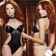 Hot Women Sexy Pu Leather Dress Female Sexy Nightwear NightClub Pole Dancing Temptation Sexy Products Lady Erotic Lingerie Teddy