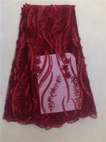 High Quality Wine Red Beaded French Lace Chiffon Fabric 5 Yards Of Each Piece Of Korean