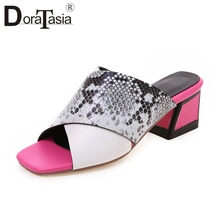 DORATASIA New Hot Sale Colored High Heels Slippers Women 2019 Summer Large Size 34-43 Fashion Mules Casual Shoes Woman