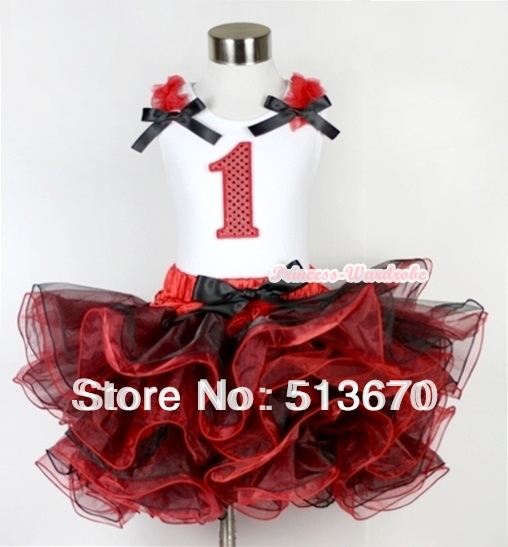 Red Black 8 Layered Pettiskirt Red Sparkle Number Ruffle Red Bow Tank Top MAMG575 red black 8 layered pettiskirt red sparkle number ruffle red bow tank top mamg575