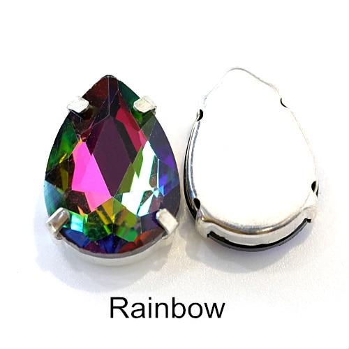 5 размеров красочные стеклянные хрустальные серебряные коготь пришивные стразы с коготь капли воды красные Пришивные коготь стразы для одежды B0403 - Цвет: Rainbow
