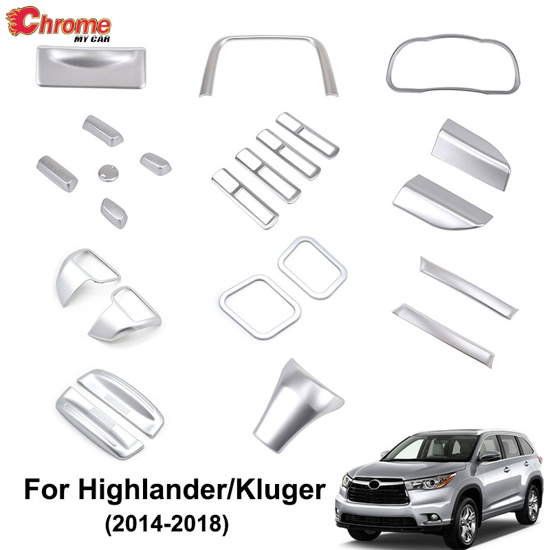 For Toyota Highlander Kluger 2014 2015 2016 2017 2018 Chrome Interior Switch Button Cover Air Vent Trim Decoration Car Styling