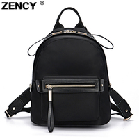 ZENCY Light Weight Oxford Cloth With Few Cow Leather Women Backpack Women Backpacks Girl School Bag