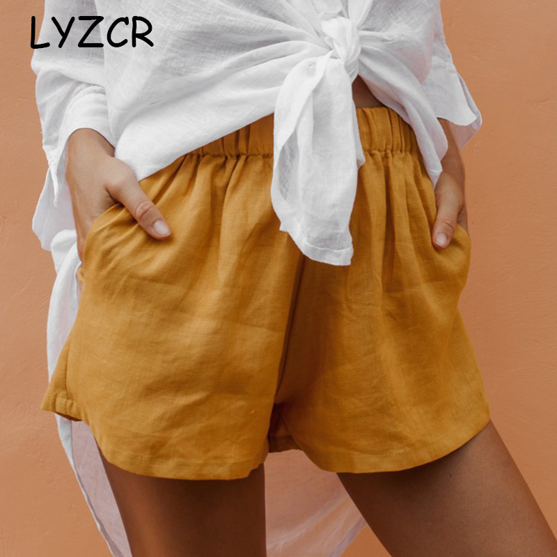 LYZCR Women's Cotton Line Shorts Summer Loose Casual High Waisted Shorts For Women Elastic Waist Yellow Shorts Women Solid