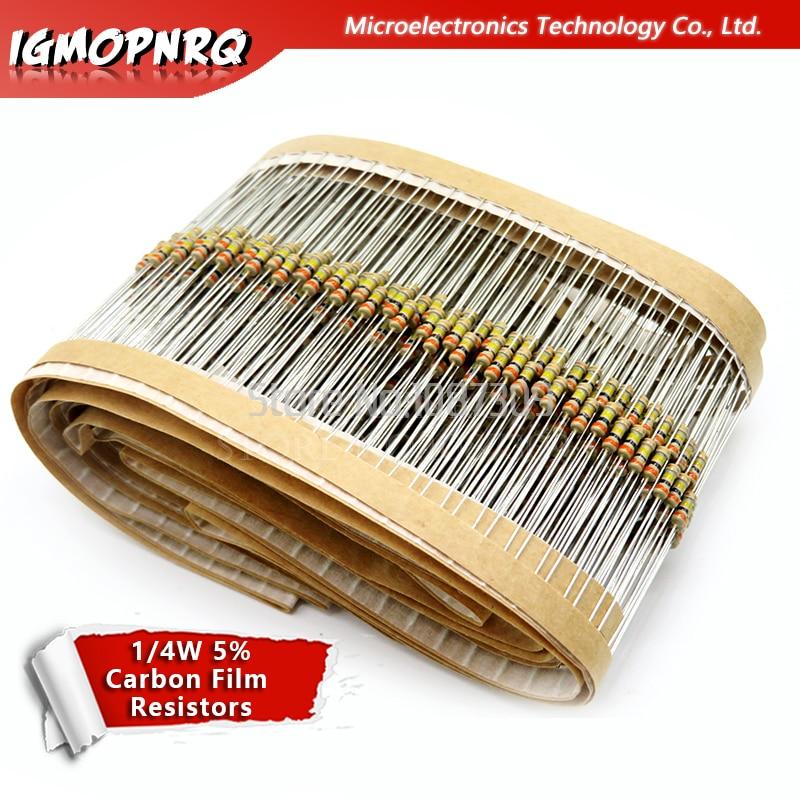 500PCS 1/4W 1R~10M  5% Carbon Film Resistors 10R 47R 100R 220R 1K 10K 4K7 100K 560K 1M 3M3 Ohm Color Ring Resistance