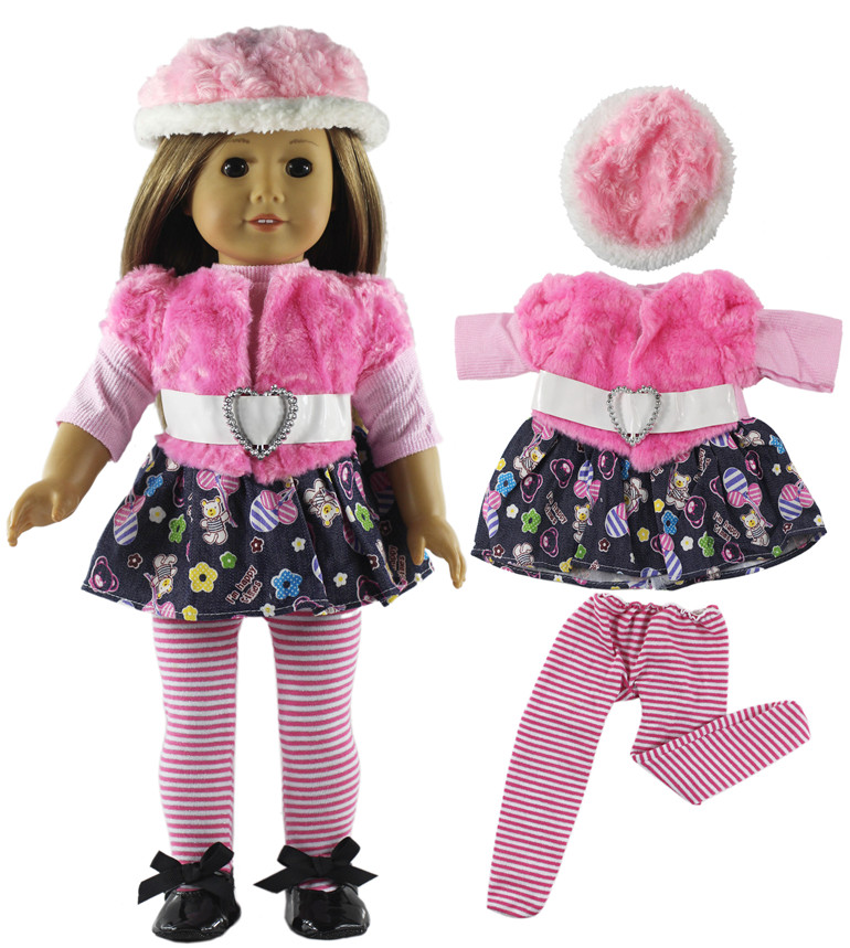 Image 2 - 5 Set Fashion Style Clothing Doll Clothes+4 hats+4 bags+one pairs tights for 18 inch doll clothes american doll accessoriesDolls Accessories   -