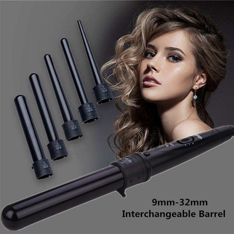 Dual Voltage Hair Curling Iron Wand Professional Interchangeable Barrel Hair Curler Tourmaline Ceramic Hair Roller Curling Tool