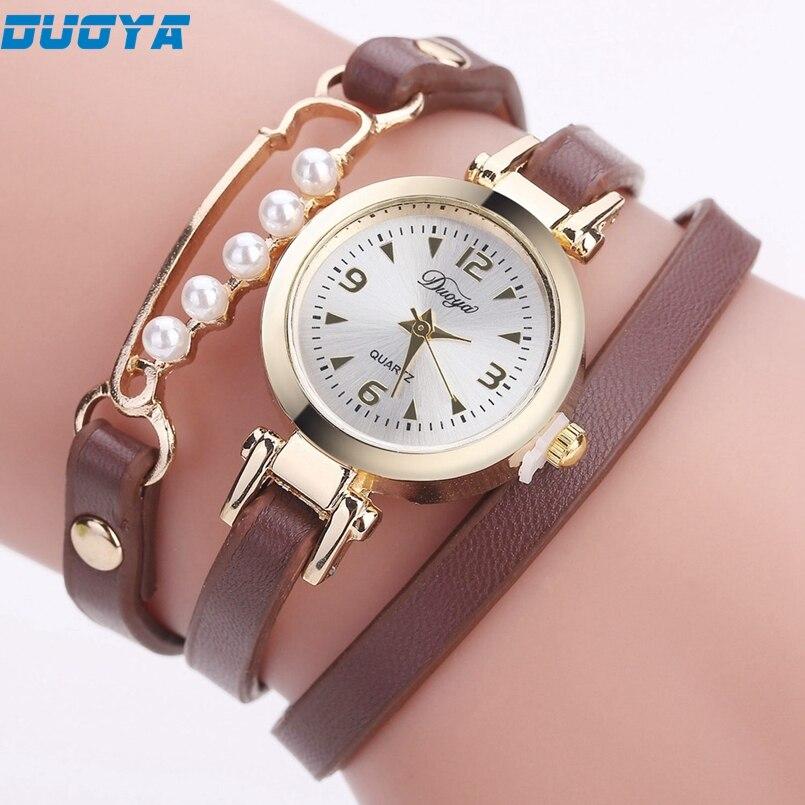 Duoya Brand Watch Women Luxury Gold Gemstone Dress Watches Women Gold Bracelet Watch Female Leather Quartz Wristwatches