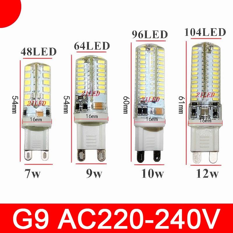 Миниатюрная Светодиодная лампа G9 7 Вт 9 Вт 12 Вт, 3014 SMD, 110 В переменного тока, 220 В, светодиодная кукурузная лампа с силлоконическим корпусом, 64 с...