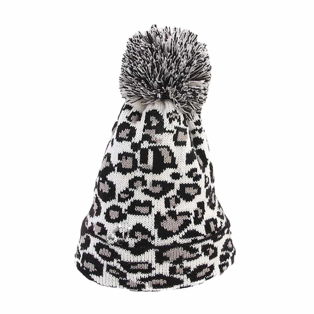 1abb6f8fd33 ... KANCOOLD 2018 Fashion Fashion Women Leopard Print Hats Faux Fur Ball  Autumn Winter Warm Crochet Knitted ...