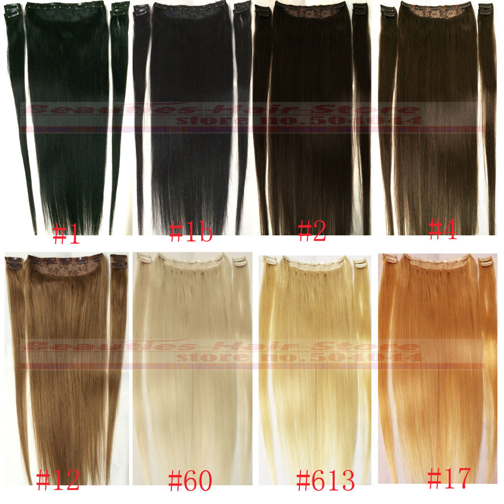 "22 colors 16""-28"" 5pcs Set 100% Brazilian Bemy Human Hair Clips In/on Hair Extensions 100g 120g 140g 160g"