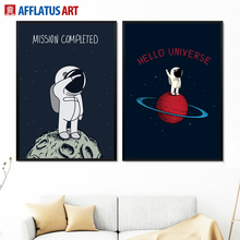AFFLATUS Astronaut Universe Nordic Poster Wall Art Print Canvas Painting Black White Cartoon Pictures For Living Room Decor