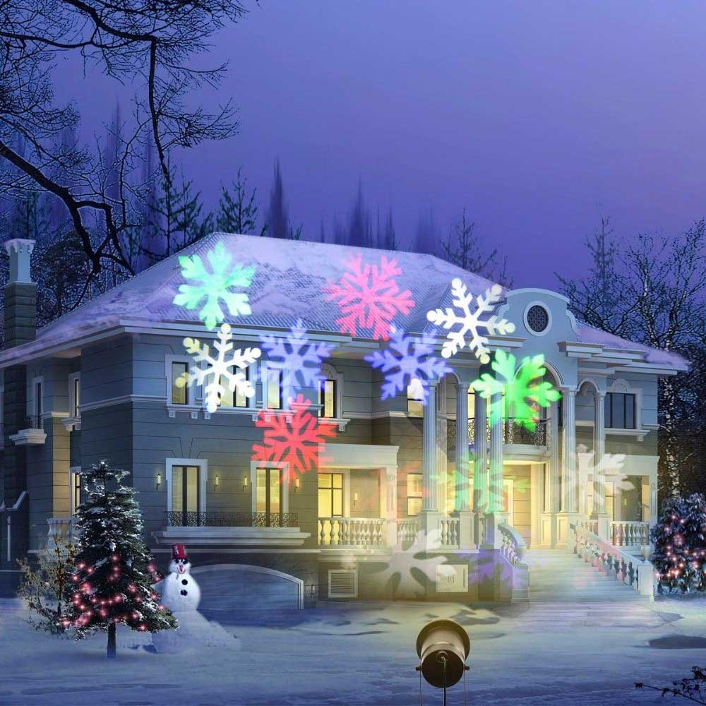 XL - J18 / J18W Snowflake Shape Outdoor Projector Light IP65 Waterproof Decorations for Garden Lawn House Christmas