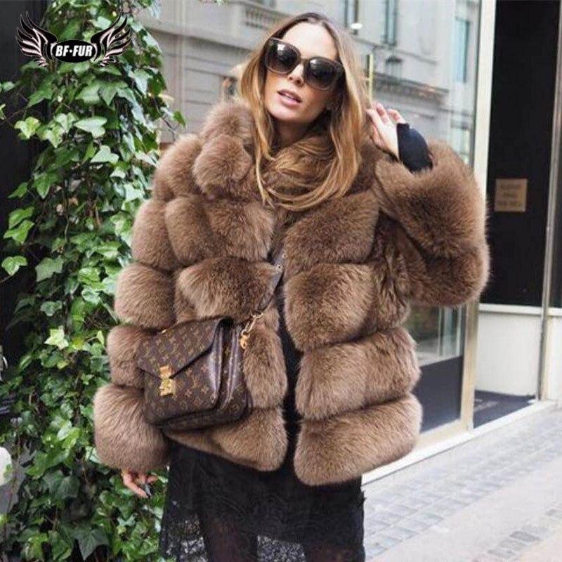 Женское пальто с натуральным лисьим мехом BFFUR, однотонное зимнее пальто из натуральной кожи с толстым воротником на заказ