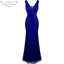 Angel-Fashion официальное вечернее платье с v-образным вырезом и бисером прозрачное кружевное вечернее платье robe de soiree 232