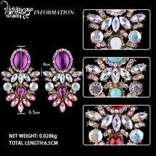 Dvacaman Brand Trendy Big Crystal Statement Earrings Wedding Drop Earrings Women Party Hanging Earrings Jewelry Wholesale GG40