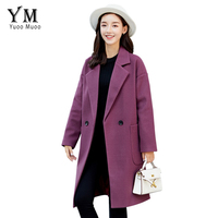 YuooMuoo Casual Autumn Office Lady Solid Army Green Wool Jacket Elegant Double Breasted Slim Long Woolen Coat Women Outwear