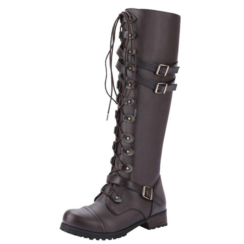 2018 mode militaire mujer Punk femme gothique bottes rétro Combat Style Vintage hiver botas boucle femmes chaussures Steampunk 6Yyb7gf