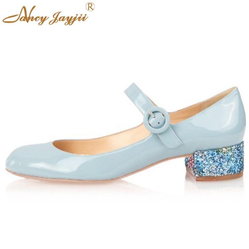 ФОТО Nancyjayjii Kitten heels Mary Jane Low Heel Pumps Women Artificial Leather Round Toe Shoes zapatos de mujer de moda large 4-16