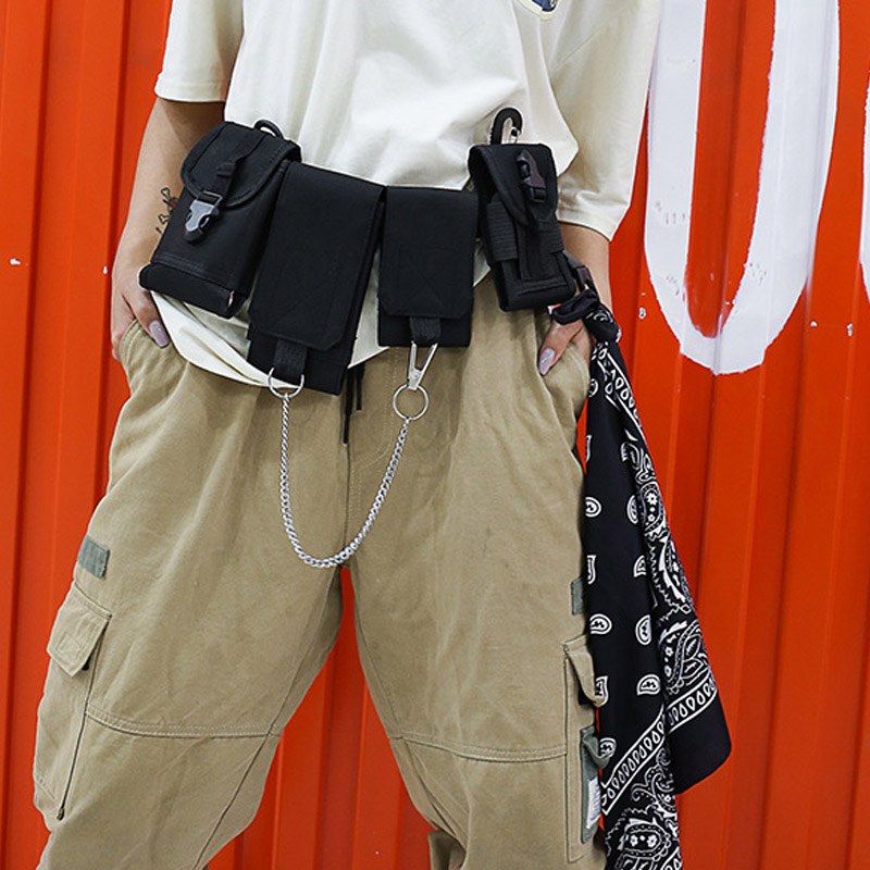 Men Chest Bag  Tactical Waist Bag Multi-pocket Shoulder Bags Hip Hop Small Phone Pouch Street Boy Fashion Fanny Pack