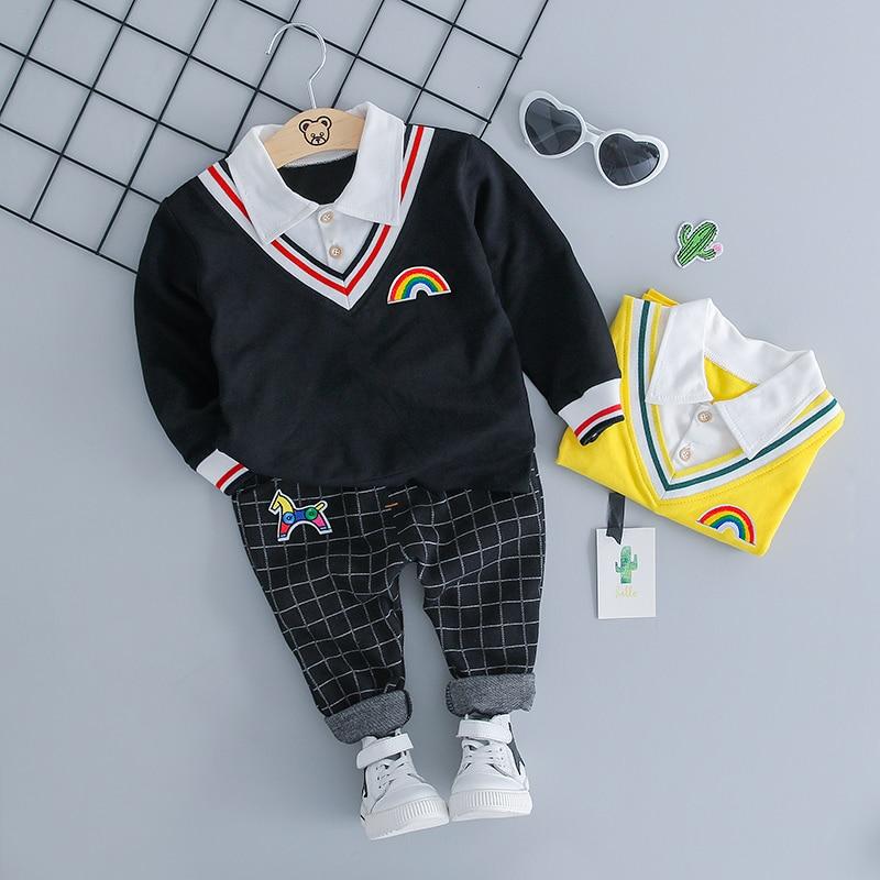 HYLKIDHUOSE/2018 г. осенние комплекты одежды для младенцев, одежда для маленьких мальчиков и девочек, костюмы, рубашка с лацканами, брюки, повседнев...
