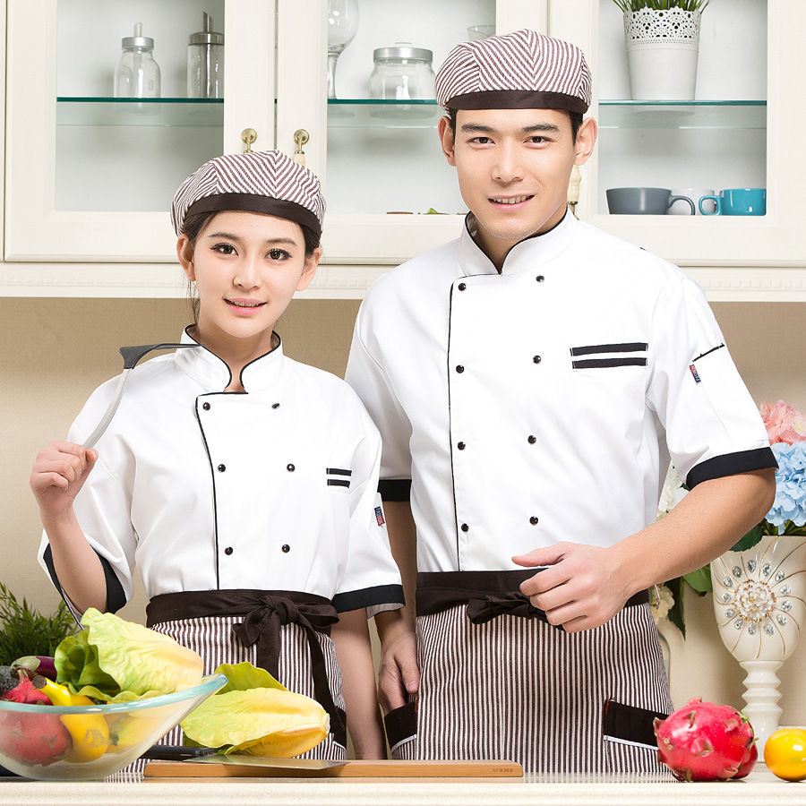 New Hotel Overalls Summer Clothes Adult  Kitchen Clothes Chef Uniform Bakery Chef Dress Short Sleeves Overalls  Overalls B-6245