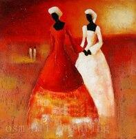 100%手描きの壁アートの装飾ブラックレディ絵ピュア手作り抽象アフリカ女性油絵キャンバスで