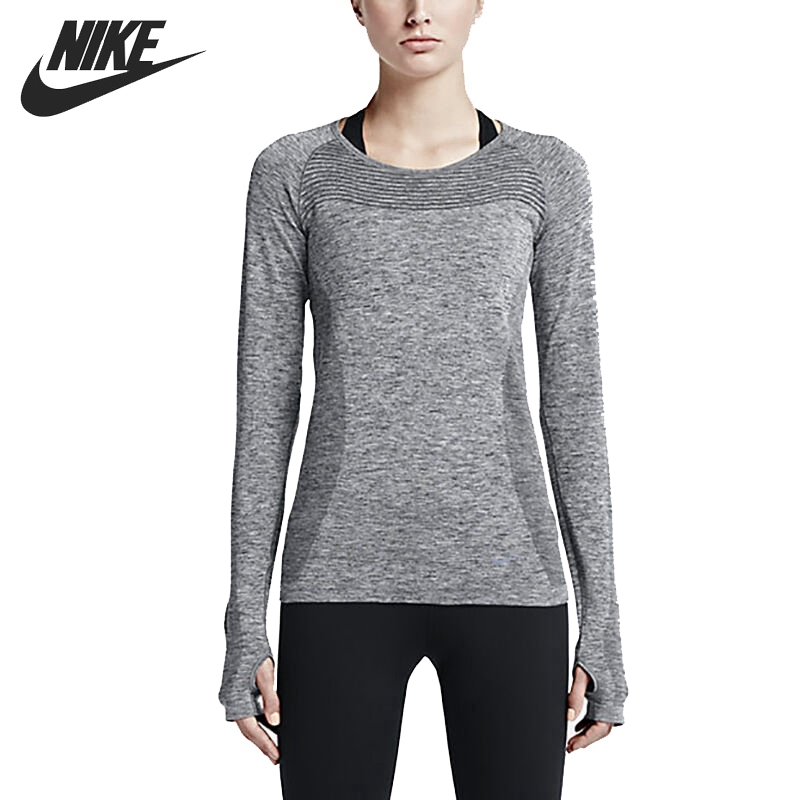Original New Arrival NIKE DRI FIT KNIT LONG SLEEVE Women s T shirts Long sleeve Sportswear
