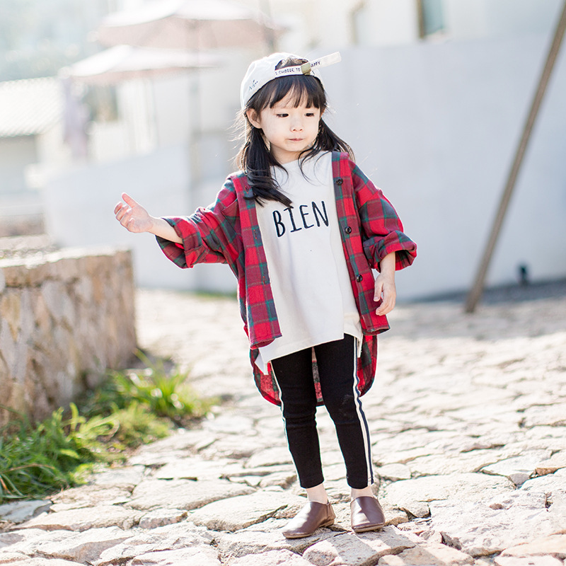 Spring Children Blousers Coat Boys and Girls Plaid Hooded Long Shirts Kids Tops with Hat Long Sleeve Cotton Clothes for Toddler