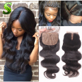 Cheap Peruvian Silk Base Closure 4x4  Human Hair Body Wave Silk Top Closure Free Middle 3 Part Silk Base Closure With Baby Hair