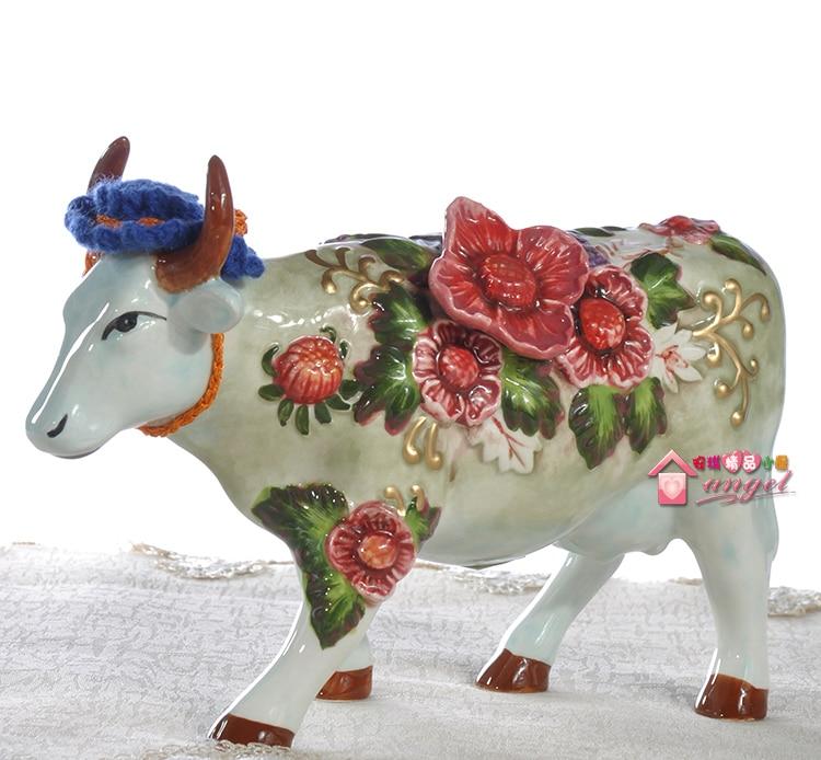 Rich Peach Ceramic Creative Cow Bull Home Decor Crafts Room Decoration Handicraft Cattle Porcelain Wedding Decoration Figurine