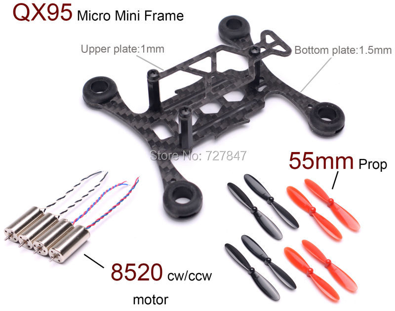 Micro mini QX95 95mm frame Mini FPV RC carbon fiber Quadcopter Frame Kit + 8520 Coreless Motor + 55mm Propeller drone with camera rc plane qav 250 carbon frame f3 flight controller emax rs2205 2300kv motor fiber mini quadcopter