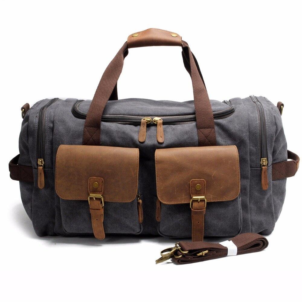 2017 Vintage Canvas Men Travel Bags Carry on Luggage bag Large Men Duffel Bags shoulder Weekend bag Overnight Big tote Handbag