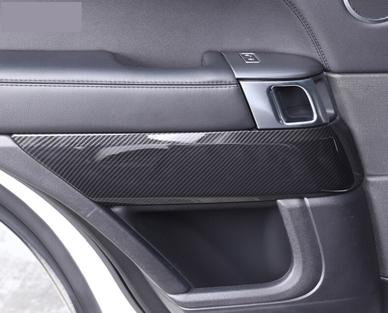 4pcs Carbon Fiber Style ABS Plastic Inner Door Decoration Cover Trim For Landrover Range Rover Sport RR Sport 2014-2017 NEW!! carbon fiber style abs plastic for land rover range rover evoque 12 17 center console gear panel decorative cover trim newest