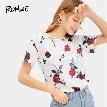 bba6b088b3b9 ROMWE белый цветочный принт футболка 2019 Женский сказочный повседневное  шикарный ...