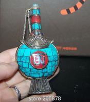 Nepal Tybetański duże butelki tabaki BYH015 Antiqued Mosiądz inkrustowane turquoise rękodzieła kolekcje, OM amulet