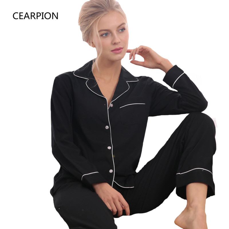 Spring Summer Pajamas Set Women Long Sleeve 2 PCS Shirt&Pant  Cotton Sleepwear Casual Intimate Lingerie