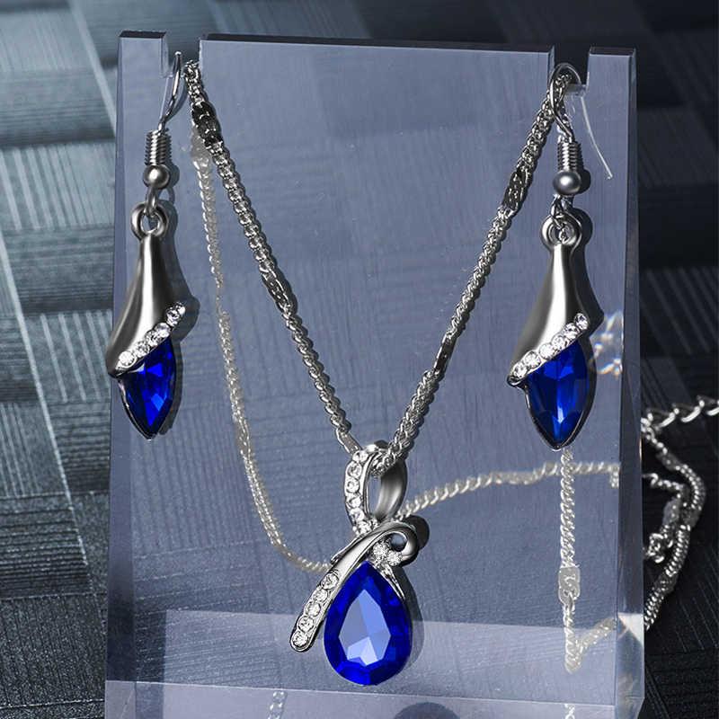 QCOOLJLY Elegante Luxus Design Neue Mode Gold Gefüllt Bunte Österreichischen Kristall Tropfen Schmuck-Sets Frauen Hochzeit Partei Schmuck