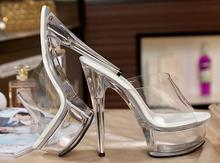 2019 New Slides Female Model T Stage Catwalk Sexy Crystal Shoes 15cm High with Transparent Platforms Thick Soles Slippers
