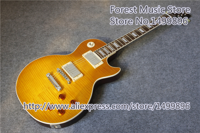Cheap Hot Selling Matte Tiger Flame Finish LP Standard Electric Guitars With Solid Mahogany Guitar Body In Stock