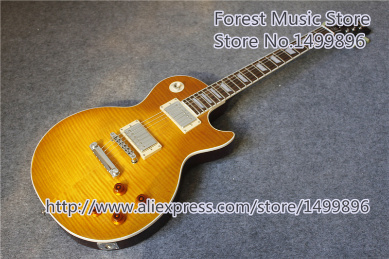 Hot Selling Matte Tiger Flame Finish LP Standard Electric Guitars With Solid Mahogany Guitar Body In Stock hot selling cheap price sg standard electric guitar bigpsy tremolo stain finish chinese guitars in stock for sale