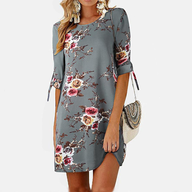 bdc489113 Plis Size Ladies Sexy Floral Printing Half Sleeve Dress Women Soft O Neck  Dresses Female Summer Simple Flower Sundress